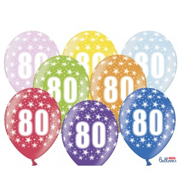 Balony 30cm, 80th Birthday,...